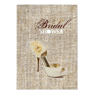 Rustic vintage stamps burlap country Bridal shower Card