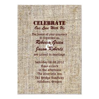 Rustic vintage stamps burlap country Wedding 13 Cm X 18 Cm Invitation Card