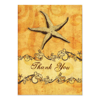 "rustic, vintage ,starfish beach thank you 5"" x 7"" invitation card"