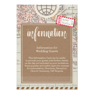 Rustic vintage travel Wedding Information Card 13 Cm X 18 Cm Invitation Card