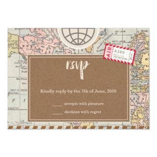 Rustic vintage travel Wedding RSVP Card 13 Cm X 18 Cm Invitation Card