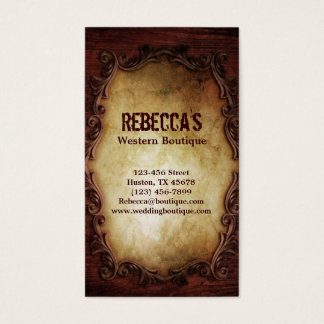 rustic vintage typography western country wedding business card