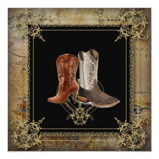 rustic vintage western country cowboy wedding 13 cm x 13 cm square invitation card