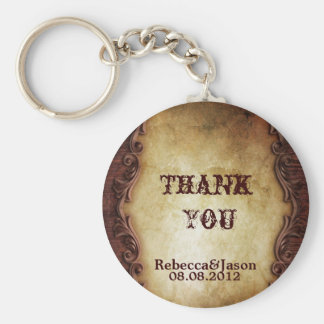 rustic vintage western country wedding favor key ring