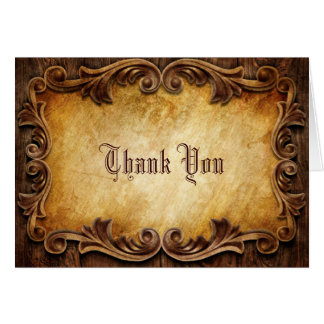 rustic vintage western country wedding thank you note card