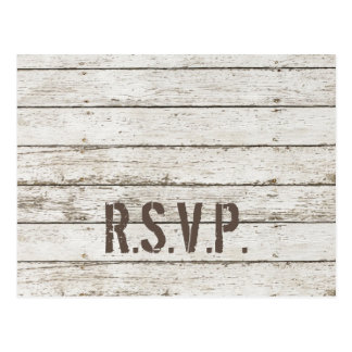 rustic vintage white barn wood barn wedding RSVP Postcard