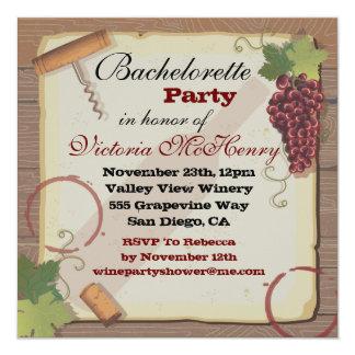 Rustic Vintage Wine Tasting Bachelorette Party 13 Cm X 13 Cm Square Invitation Card