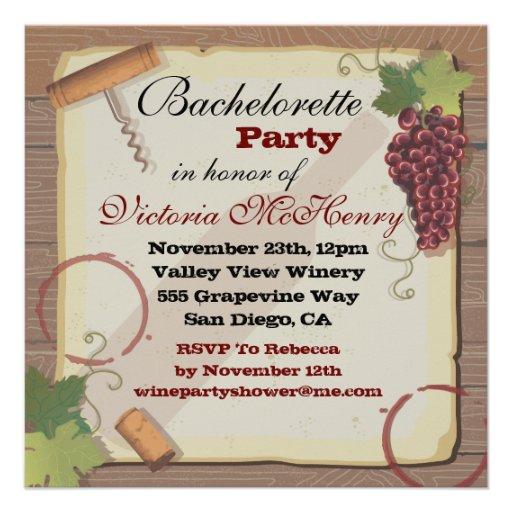 Rustic Vintage Wine Tasting Bachelorette Party Custom Invitations
