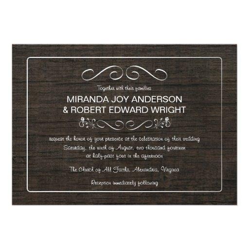 Rustic Vintage Wood Wedding Invitations