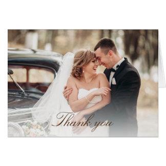 Rustic Vintage Wood Wedding Photo Thank You Card
