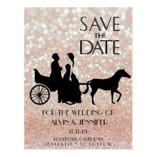 Rustic Wagon Wedding Pink Rose Glitter Couple Postcard