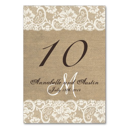 Rustic WARM Burlap Lace Wedding Table Card