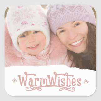 Rustic Warm Wishes   Holiday Photo Stickers