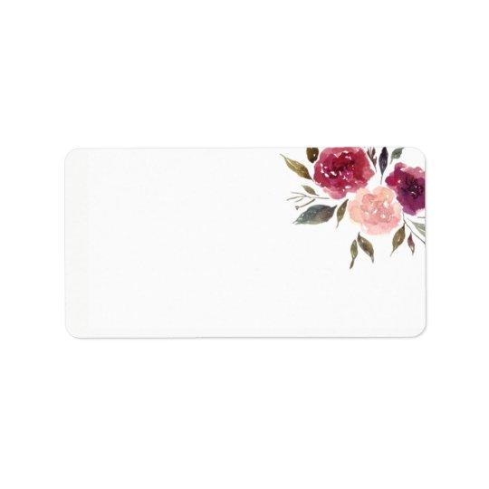 Rustic Watercolor Burgundy Marsala Floral | Label