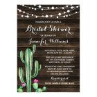 Rustic Watercolor Cactus Barn Wood Bridal Shower Card