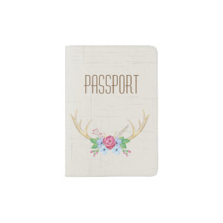 Rustic Watercolor Deer Antlers with Flowers Passport Holder