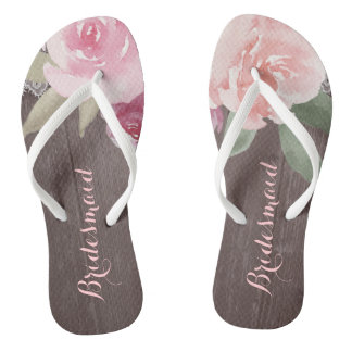 Rustic watercolor floral bridesmaid wedding thongs