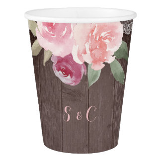 Rustic watercolor floral lace wedding monogram paper cup