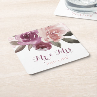 Rustic watercolor floral lace wedding Mr and Mrs Square Paper Coaster