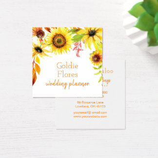 Rustic Watercolor Floral Sunflowers Square Business Card