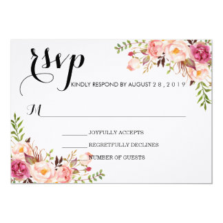 Rustic Watercolor Floral Wedding RSVP/no meal Card