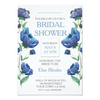 Rustic watercolor flowers and ring bridal shower card