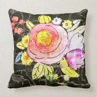 Rustic watercolor flowers with marbling background cushion