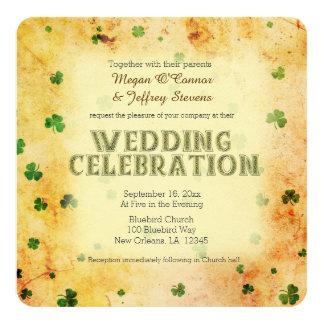 Rustic watercolor Irish shamrocks 13 Cm X 13 Cm Square Invitation Card