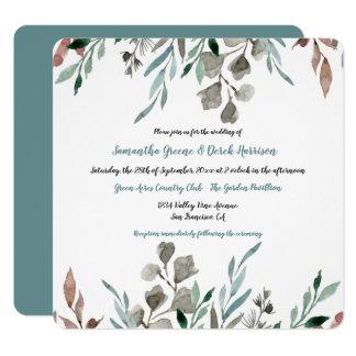 Rustic Watercolor Leaves Frame Wedding Invitations