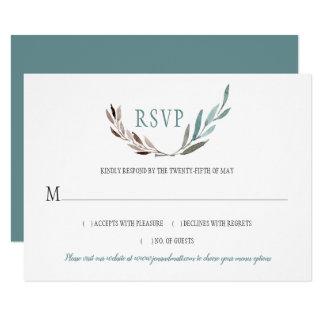 Rustic Watercolor Leaves RSVP Card