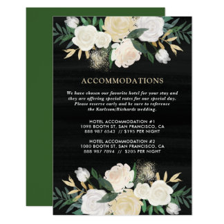 Rustic Watercolor Pale Peonies Accommodations Card