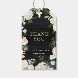 Rustic Watercolor Pale Peonies Thank You Gift Tags