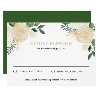 Rustic Watercolor Pale Peonies Wedding RSVP Card