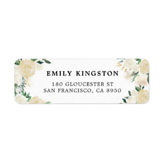Rustic Watercolor Pale Peonies with Gold Accents Return Address Label