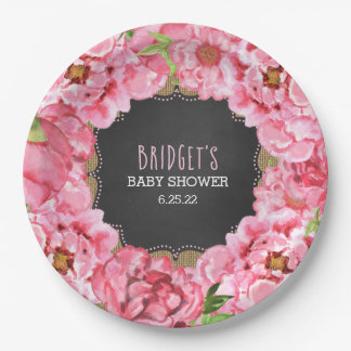 Rustic watercolor peonies baby shower decor paper plate