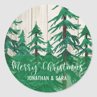 Rustic Watercolor Pine Trees Personalize Christmas Classic Round Sticker
