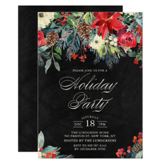 Rustic Watercolor Poinsettia Garland Holiday Party Card