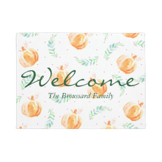 Rustic Watercolor Pumpkins & Laurels Family Name Doormat