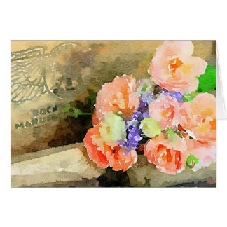 Rustic Watercolor Roses Greeting Card