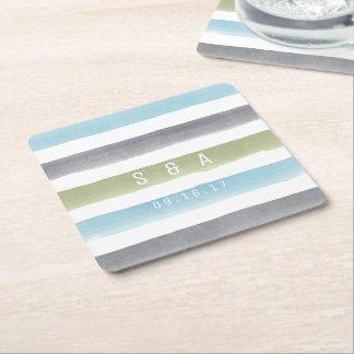 Rustic watercolor stripes monogram beach wedding square paper coaster