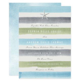 Rustic watercolor stripes nautical beach wedding 13 cm x 18 cm invitation card