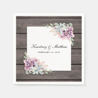 Rustic Watercolor Succulent Floral Disposable Napkins