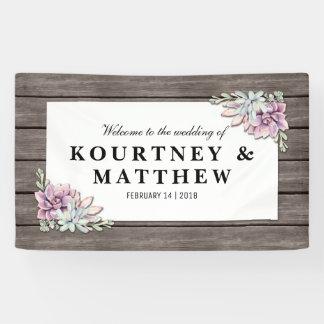 Rustic Watercolor Succulent Floral Wedding Banner