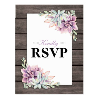Rustic Watercolor Succulent Floral Wedding RSVP Postcard
