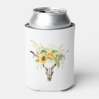 Rustic Watercolor Sunflowers Cow Skull Can Cooler