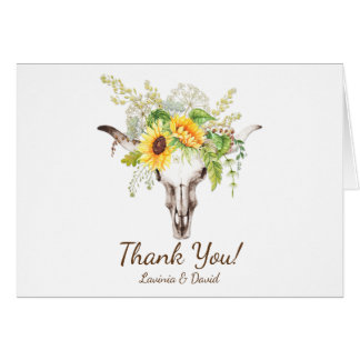 Rustic Watercolor Sunflowers Skull Thank You Card