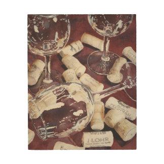Rustic Watercolor Wine Time Glass Cork Wood Art
