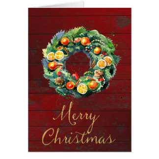 Rustic Watercolor Wreath on Red Painted Wood Card
