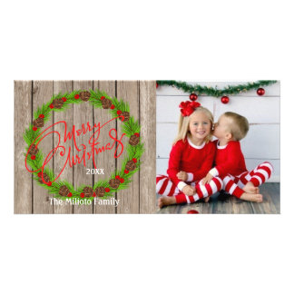 Rustic Watercolor Wreath One Photo Christmas Card