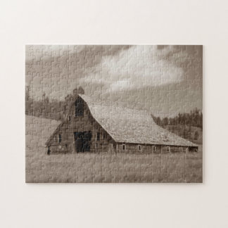 Rustic Weathered Barn Puzzle with Gift Box